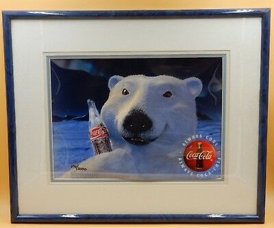 Coca Cola Rhythm & Hues Framed Polar Bear Art Signed 178/2000 W/ Coa On Back!