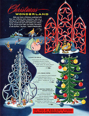 Woolworth Christmas Wonderland LAPIN Star Tree & Screen Ornaments 1951 PRINT AD