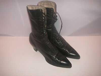 Old, Antique Vintage  Pair Of Women's Lace-Up Leather Boots, Shoes, Shelby Shoe