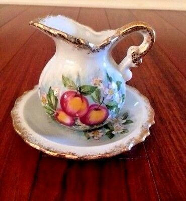 Vintage -  Mini Decorative Fruit Wash Pitcher And Basin Set - Made In Japan