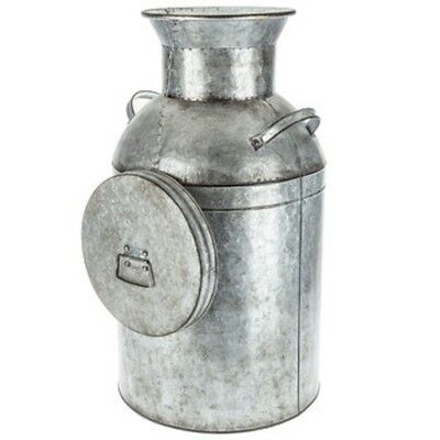 """Galvanized Metal Milk Can W/Lid Farmhouse Vintage Inspired With 2 Handles  24"""" H"""