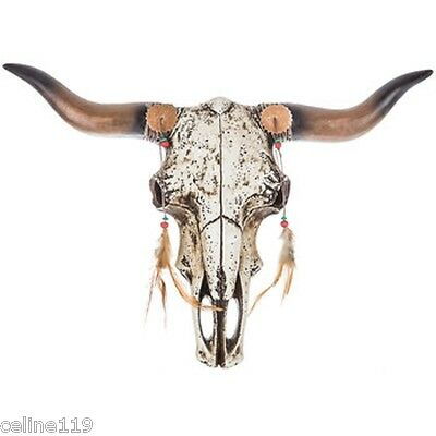 """Realistic Steer Bull Cow Feather Skull Wall Mount Rustic Western Style 18"""" x14"""""""