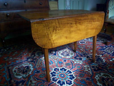 Tiger Maple  New England Antique  Swing Leg Drop Leaf Table