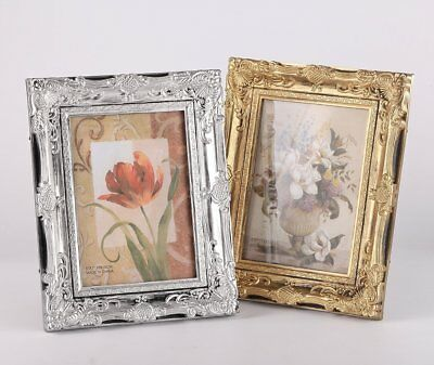"""Vintage Ornate Silver/Gold Baroque Rococo-style Photo Picture Frame-5""""x7""""/8""""x10"""""""