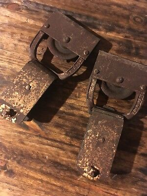Pair Old Rustic Barn Door Rollers / Trolleys, Antique Hardware
