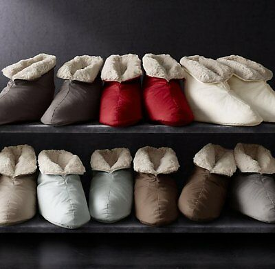 NEW RESTORATION HARDWARE LUXURY PLUSH FOOT DUVET DOWN SLIPPERS LARGE silver sage