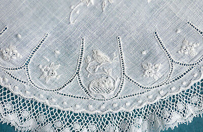 Antique French embroidered handkerchief, bird and nest  - Marie Therese