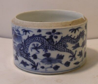 Antique 19th Century Chinese Blue And White Dragons Jar A/F