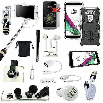 Kickstand Case Cover Charger Monopod Fish Eye Lens Earphones Accessory For LG G5