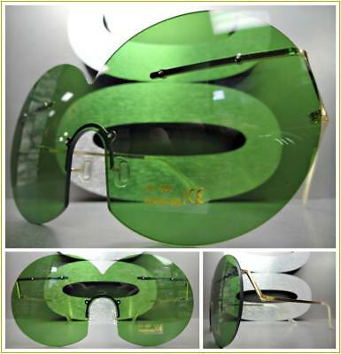 OVERSIZED VINTAGE RETRO Style SUN GLASSES Unique Rimless Round Frame Green Lens