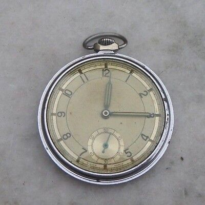 VINTAGE 1930s ART DECO CHROME CASED SWISS MADE POCKET WATCH WITH SUB DIAL