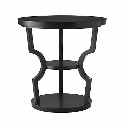 "26"" Round Accent Table Contemporary Oak Glass Brass Ebony Clear Antique Black Go"