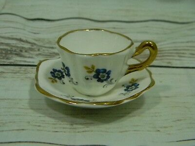 Sandford Fine Bone China Cup and Saucer Made in England Mini Size Blue Flowers