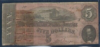 1864 $5 *Richmond* Confederate State of America Note *Free S/H After 1st Item*