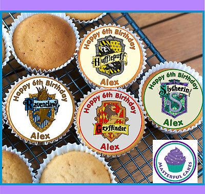 24Personalised Hogwarts House Badge Cupcake Topper Rice,Wafer,Icing Precut Wafer