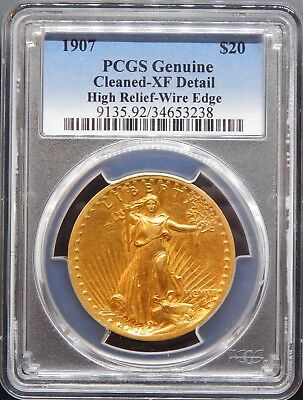 1907 $20 High Relief Wire Rim XF Details Cleaning PCGS