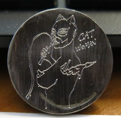 Hobo Nickel NUDE CAT WOMAN Scrimshaw Carving Carved Art Artwork Coin