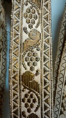 Rare hard to find french metalwork Passementerie trim 1074 inches over 29 yards!