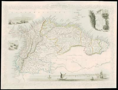 "1850 Illustrated Antique Map ""VENEZUELA ECUADOR EQUADOR""  by Tallis (223d)"