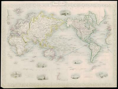 """1850 RARE Antique Map """"THE WORLD ON MERCATOR'S PROJECTION by Tallis (232d)"""