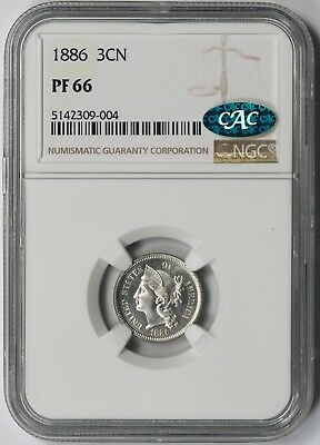 1886 Three-Cent Nickel 3CN Proof PF 66 NGC CAC Approved