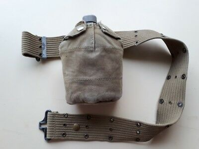 WW2 Vintage Collectible U.S. Army GI Web Belt and Canteen with pouch