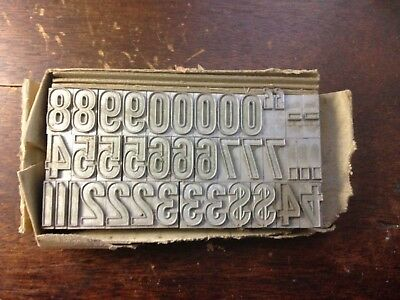 72 Point Gothic Outline Numbers letterpress lead type NOS American Type Foundry