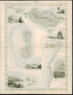 """1850 """"ISLANDS IN THE ATLANTIC"""" by Tallis BERMUDA MADEIRA CANARY ISLANDS AZORES"""