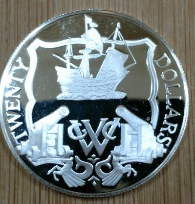 """1985 Proof $20 """"SHIP & CANNONS"""" British Virgin Islands Silver Coin"""