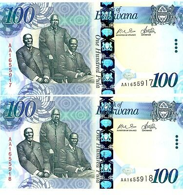 Botswana … P-33 … 100 Pula … ND(2009) … *UNC* ... Consecutive pair.