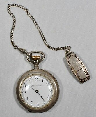 Vintage 1800's SETH THOMAS Pocket Watch Working Sterling Silver Case & Chain