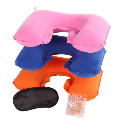 U Air Cushion Pillow + Eye Mask + Earbuds Set Travel Inflatable Flight Neck Res