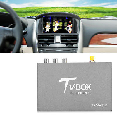 HD DVB-T2 Vehicle Mobile Digital TV Box Analog Tuner Receiver Antenna Remote Kit