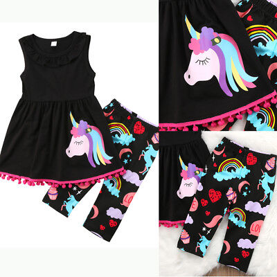 Unicorn Kids Baby Girls Outfit Clothes T-shirt Long Tops Dress+ Shorts Pants Set