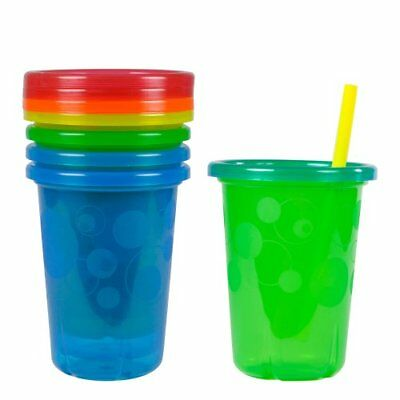 4 Pk Spill-Proof Plastic Cups Tumbler With Lids Straws Sippy Toddler Kids 10 Oz