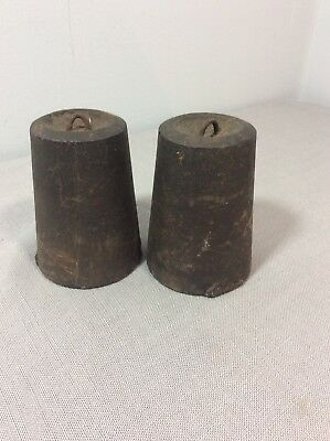 Antique Wooden Works Shelf Clock Weights