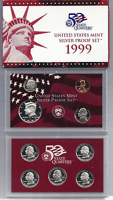 1999 US Mint Silver Proof 9 Coin Set w/ Box and COA