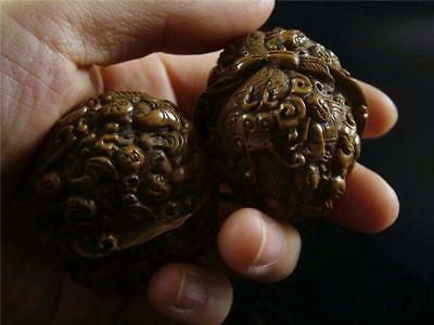 A Pair Of Old Chinese Authentic Walnuts CARVED W/ NUMEROUS FAIRY BOYS AUSPICIOUS
