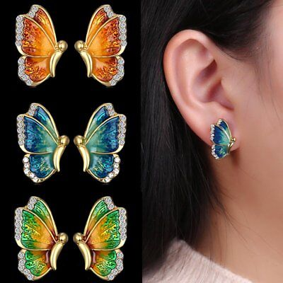 Fashion Charm Gold Tone Crystal Rhinestone Butterfly Stud Earrings Jewelry Gift