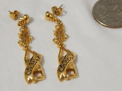 Vintage 80s Eighties Signed AVON Champagne Bottle Long Dangle Cheers Earrings