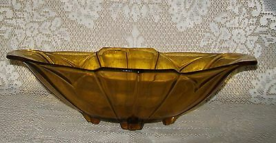 VINTAGE ART DECO FOOTED AMBER GLASS BOAT SHAPE SERVING BOWL 30x17cm
