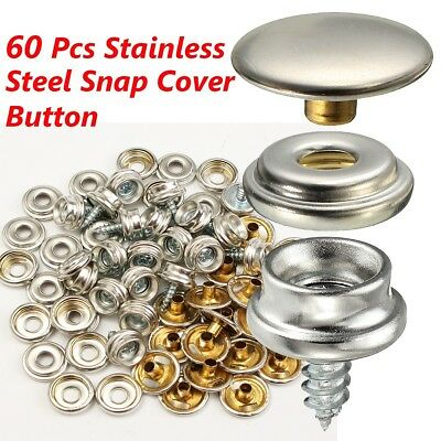 """60pcs 3/8"""" Boat Marine Canvas Cover Snap Fastener Screw Kit Button Stainless"""