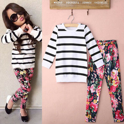 Kids Baby Girls Striped T Shirt Tops+Floral Pants Long Sleeve Clothes Outfit Set