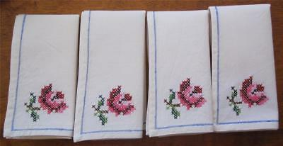 Four Vintage Cross Stitch Linen TABLE NAPKINS 'Never Used'