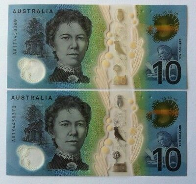 2017 Unc $10 Next Generation Banknotes Consecutive Pair First Prefix Aa17