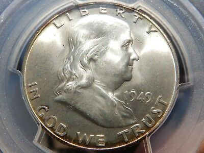 rare 1949-d Franklin half dollar PCGS graded MS65FBL! FREE shipping, NEVER tax!