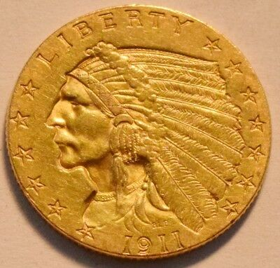 1911 $2.50 Gold Indian Quarter Eagle, Higher Grade 2 and 1/2 Coin, Nice Type