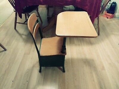 Vintage/antique childs school desk with chair, metal and wood, cute piece