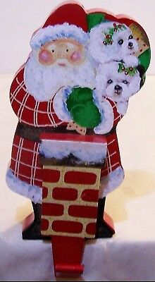 Bichon Frise hand painted  Santa Edge Sitter solid wood with hanger art dog