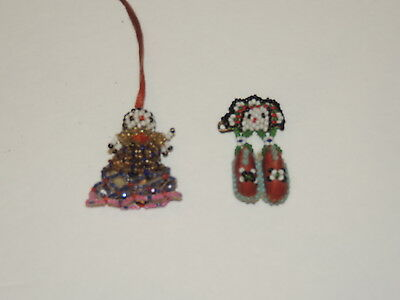 2 Antique Iroquois Beaded Pieces 1 pin / 1 small Doll  Pendant